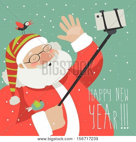 Cartoon style Santa Claus making selfie, Christmas vector greeting card