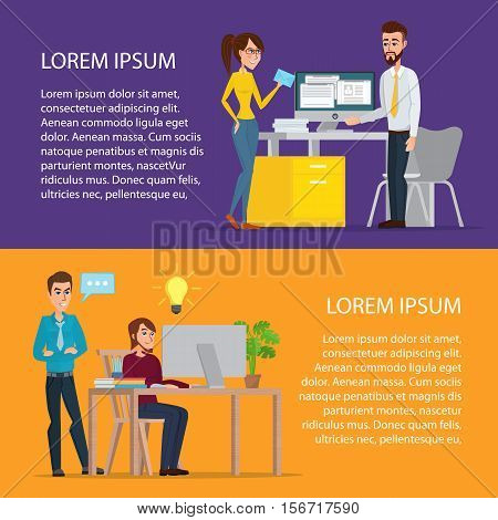 Task Conversation Businessman at Desk Working on Computer. Cartoon poster vector illustration. Banners for your web design in business style. Template for your text. Business characters set.