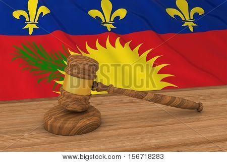 Flag Of Guadeloupe Behind Judge's Gavel 3D Illustration