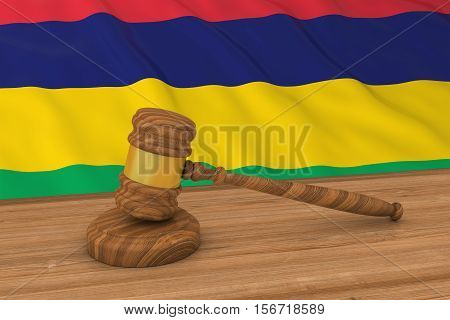 Mauritian Law Concept - Flag Of Mauritius Behind Judge's Gavel 3D Illustration