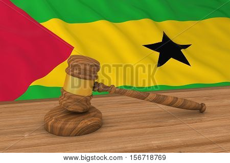Sao Tomean Law Concept - Flag Of Sao Tome And Principe Behind Judge's Gavel 3D Illustration