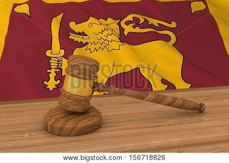 Sri Lankan Law Concept - Flag Of Sri Lanka Behind Judge's Gavel 3D Illustration