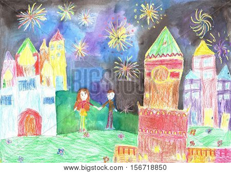 Child's drawing happy family. Lovers man and woman watching fireworks