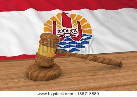 Tahitian Law Concept - Flag Of Tahiti Behind Judge's Gavel 3D Illustration