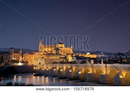 Roman bridge and Mosque under star-filled sky, Cordoba, Spain. Night scene