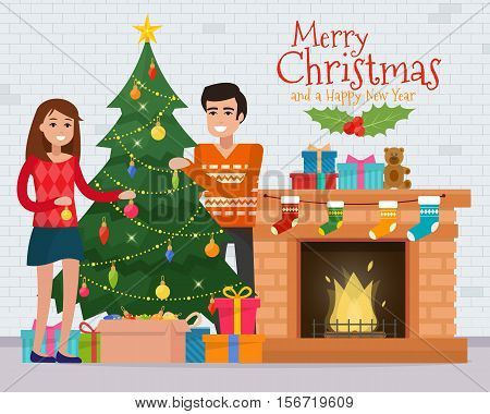 Family decorating christmas tree near fireplace. Christmas room interior. Christmas tree and decoration. Gifts and fireplace. Flat style vector illustration.