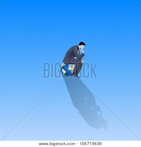 Loneliness on Olymp business concept. Pensive businessman in business suit sitting on the top of earth glove alone with only space around him. Isolation responsibility decision consequences.