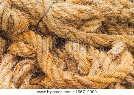 Thick Rope Of Jute Fiber Tangled In The Ground