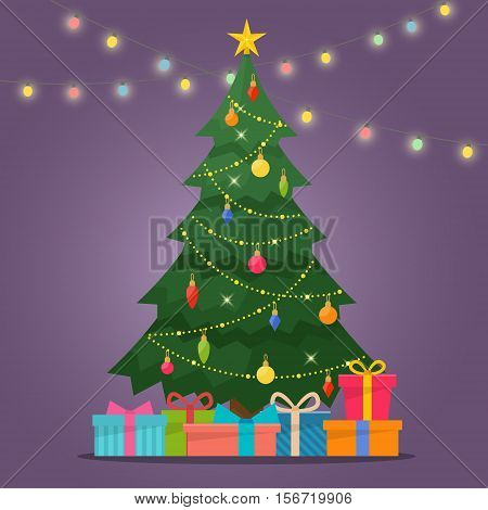 Decorated christmas tree with gift boxes, star, lights, decoration balls and lamps. Merry Christmas and a happy new year. Flat style vector illustration.