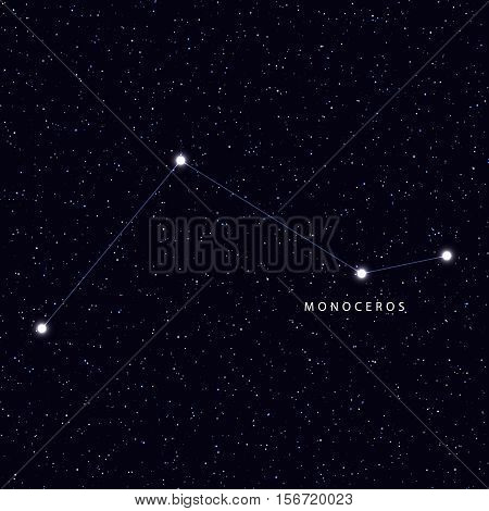 Sky Map with the name of the stars and constellations. Astronomical symbol constellation Monoceros