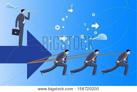 Team with vision business concept. Three confident businessmen in suits pull big arrow with one more businessman on top of it with case and looking glass. Team teamwork vision prediction plan.