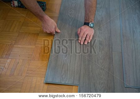 Lay vinyl floor on parquet floor, surface