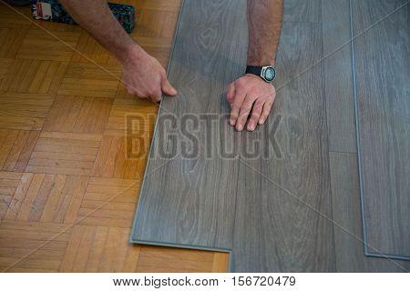 Lay vinyl floor on parquet floor, surface