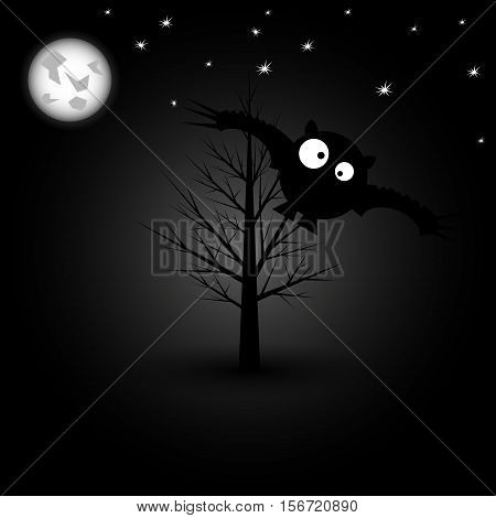 Bat with big eyes. Night sky. Vector illustration