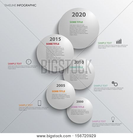 Time line info graphic with grey bubbles above each other vector eps 10