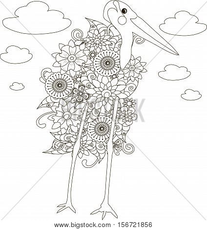 Flowers marabou stork, coloring page anti-stress vector illustration