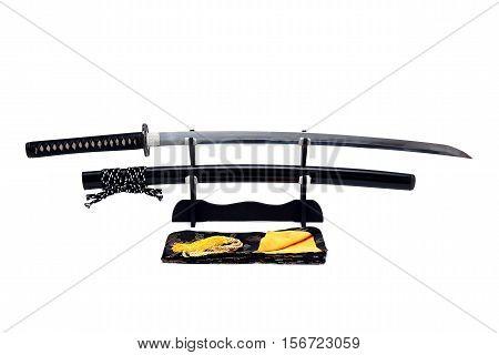 Katana  Japanese sword on black stand white background