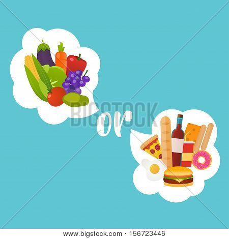 Healthy or fast food. Diet nutrition fitness and health concept. Nutrition choice and diet decision concept and eating dilemma.