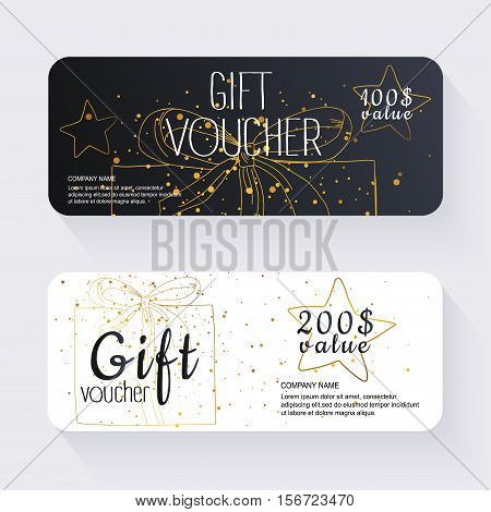 Gift Voucher Template With Gold Gift Box, Gift Certificate. Background Design Gift Coupon, Voucher,