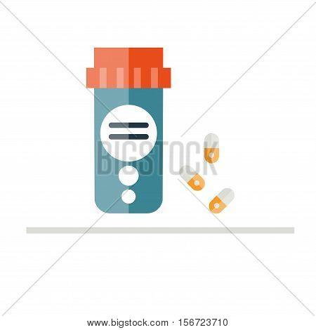 Pill bottle vector illustration. Medicine bottle in flat style. Isolated on color background. Pills. Prescription bottle.