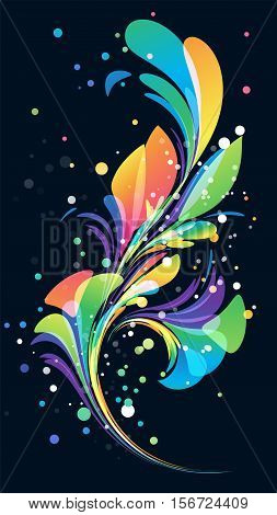 Abstract multicolored background floral elements on black