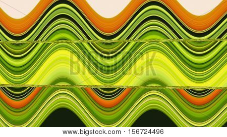 Pattern wave green yellow orange computer graphic design for copy double to print the product Textile fabric wrapping paper pencils Curtains sheets bedspread shirt or background