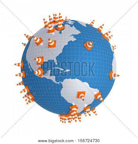 traffic cone on globe 3d rendering image