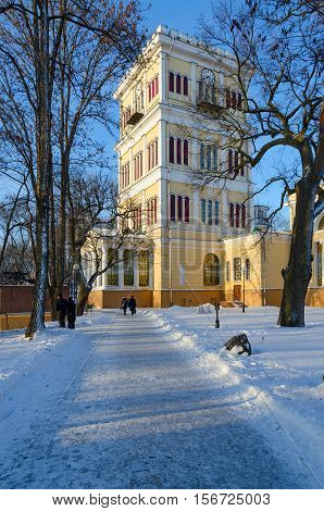 Tower of Palace of Rumyantsev-Paskevich palace and park ensemble winter landscape Gomel Belarus