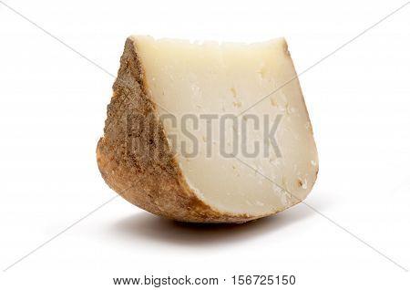 Marzolino (tuscan pecorino) cheese on a white background