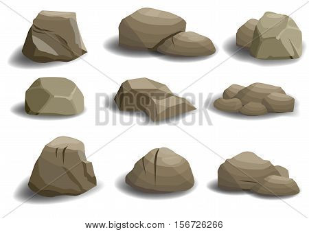 Set of different natural stones or rocks on a white background. Vector graphics