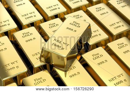 3d gold bullion, gold bars desktop wallpaper