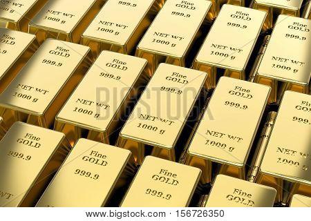 3d gold bullion, gold bars desktop wallpaper