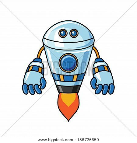 Robot on a white background.  Robot illustration. Robot vector. Robot poster. Robot Vector illustration