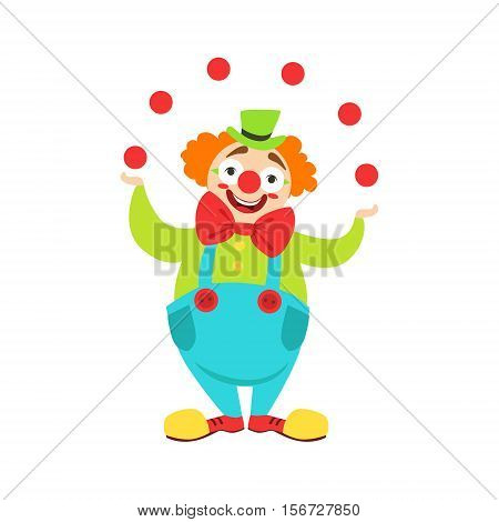 Circus Clown Artist In Classic Outfit With Red Nose And Make Up Performing Juggling Stunt For The Circus Show. Colorful Cartoon Illustration From The Collection Of Entertainment Performers And Circus Arena Vector Drawings