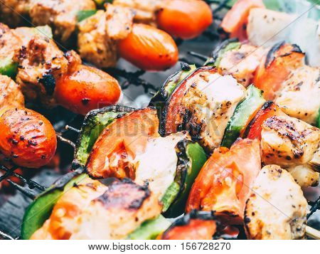 Close up of barbecue with small tomato on the tip.