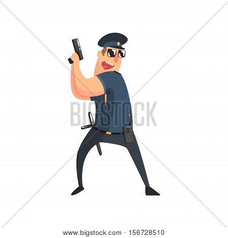 Policeman In American Cop Uniform With Truncheon, Radio, Gun Holster And Sunglasses Holding The Pistol. City Police Officer Fun Cartoon Character In Classic Outfit On Duty Illustration.
