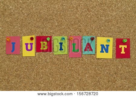 Jubilant word written on colorful sticky notes pinned on cork board.