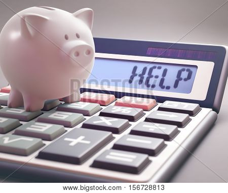 Piggy bank on a calculator that shows the word