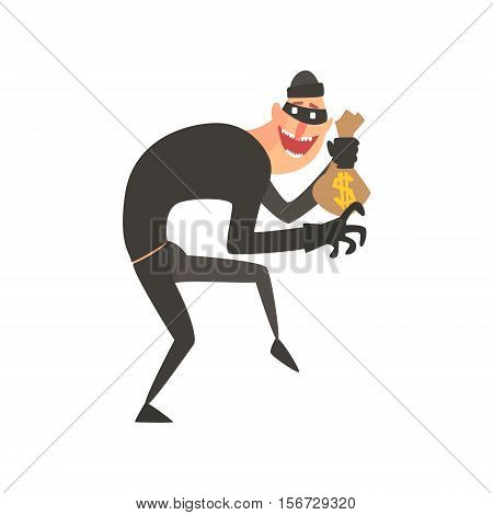 Criminal Wearing Mask Holding Money Bag Tiptoeing Committing A Crime Robbing The Bank. Cartoon Outlaw Character, From Bandit Vector Illustrations Collection.