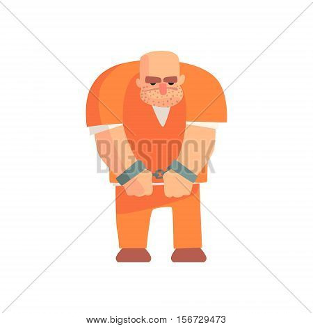 Criminal In Orange Prison Uniform Standing In Handcuffs Caught And Convicted For His Crimes. Cartoon Outlaw Character, From Bandit Vector Illustrations Collection.