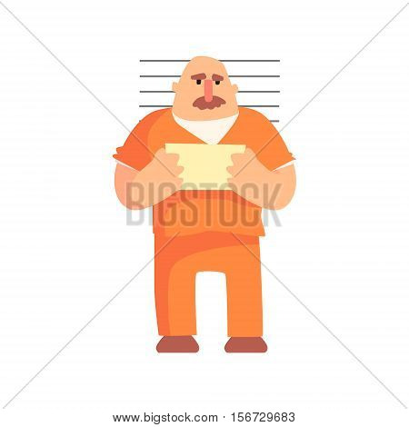 Criminal In Orange Prison Uniform Taking Picture With Prison Number Caught And Convicted For His Crimes. Cartoon Outlaw Character, From Bandit Vector Illustrations Collection.