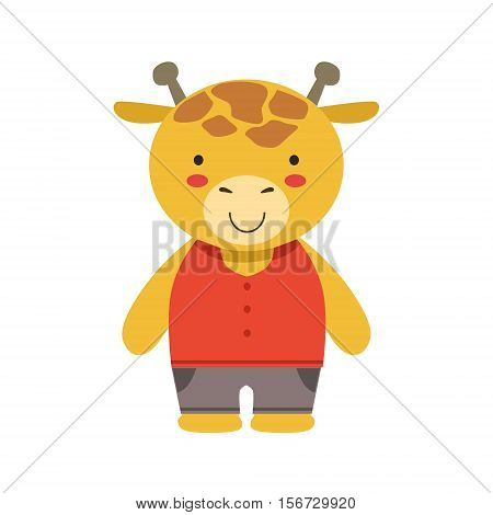 Smiling Giraffe In Red Top And Brown Pants Cute Toy Baby Animal Dressed As Little Boy. Part Of Adorable Standing Humanized Fauna Characters Collection Flat Vector Illustration.