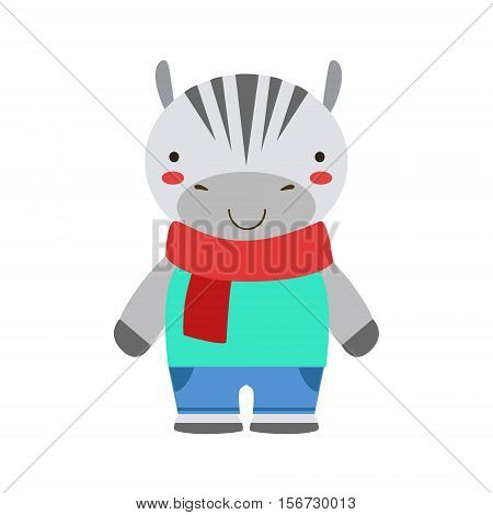 Smiling Zebra In Red Scarf And Blue Outfit Cute Toy Baby Animal Dressed As Little Boy. Part Of Adorable Standing Humanized Fauna Characters Collection Flat Vector Illustration.