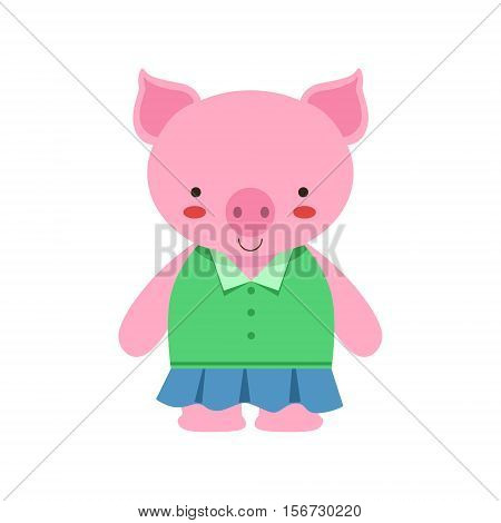 Pig In Green Top And Blue Skirt Cute Toy Baby Animal Dressed As Little Girl. Part Of Adorable Standing Humanized Fauna Characters Collection Flat Vector Illustration.