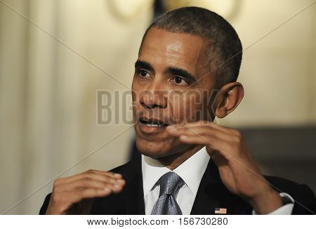 Athens Greece November 15 2016: President Barack Obama speaks during a joint news conference with Greek Prime Minister Alexis Tsipras participate at Maximos Mansion in Athens