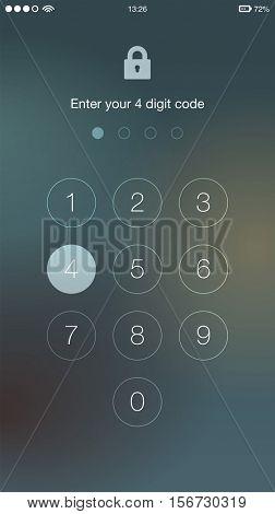 Generic Phone Screen Unlock User Interface UX UI Vector