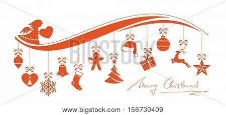 Red Christmas border with a set of 12 hanging Christmas ornaments on a wave pattern with hand written Merry Christmas underneath isolated on white.