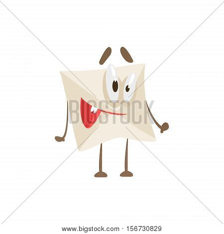 Happy Humanized Letter Paper Envelop Cartoon Character Emoji Illustration. Part Of Mail Cover Funny Character With Arms And Legs Emotional Facial Expression Vector Collection