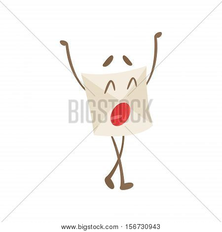 Yawning Humanized Letter Paper Envelop Cartoon Character Emoji Illustration. Part Of Mail Cover Funny Character With Arms And Legs Emotional Facial Expression Vector Collection