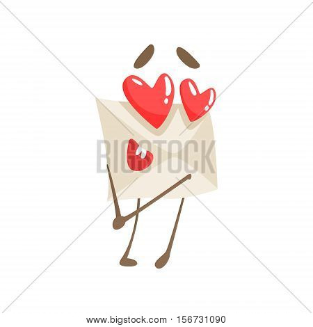 In Love Humanized Letter Paper Envelop Cartoon Character Emoji Illustration. Part Of Mail Cover Funny Character With Arms And Legs Emotional Facial Expression Vector Collection